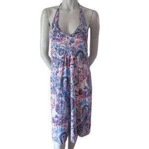 Tommy Bahama Pink and Blue Halter Dress Small